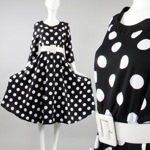 Vintage 80s does 50s Polka Dot Full Swing Dress